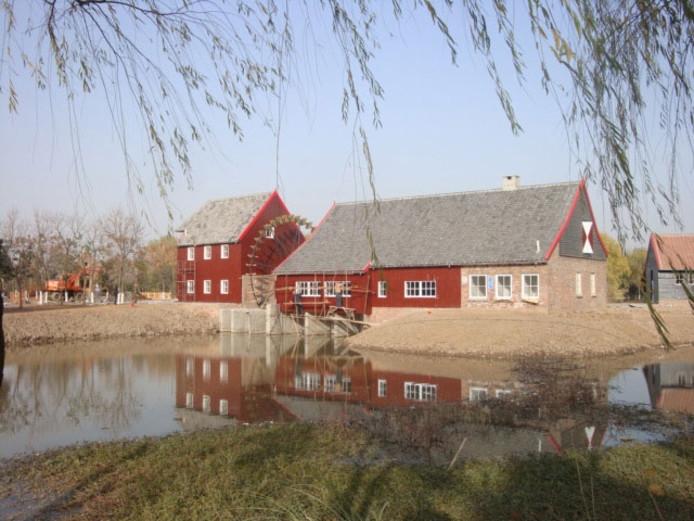 De replicatie van de Opwettense watermolen in China.