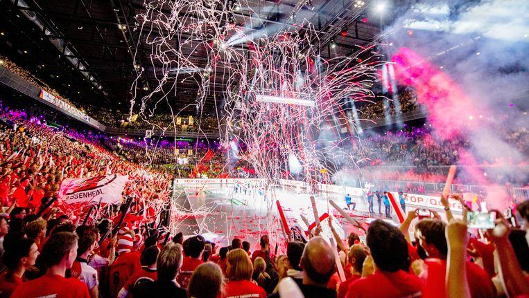 De Ziggo Dome is zaterdag omgeturnd tot korfbalarena tijdens de finale van de Korfbal League Beeld ANP