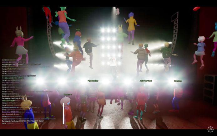 Aanwezige fans kunnen vrij rondlopen in het 3D-landschap en ondertussen van een avatarversie van de rapper genieten.