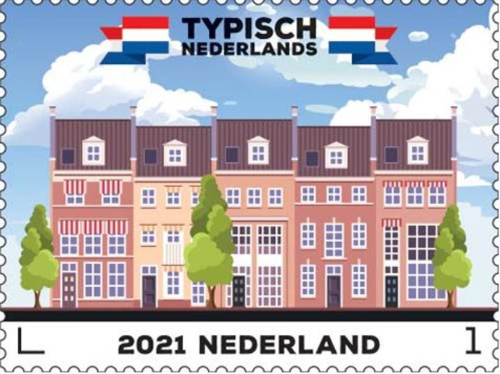 Een plaatje van de postzegel met een rij huizen in Brandevoort.