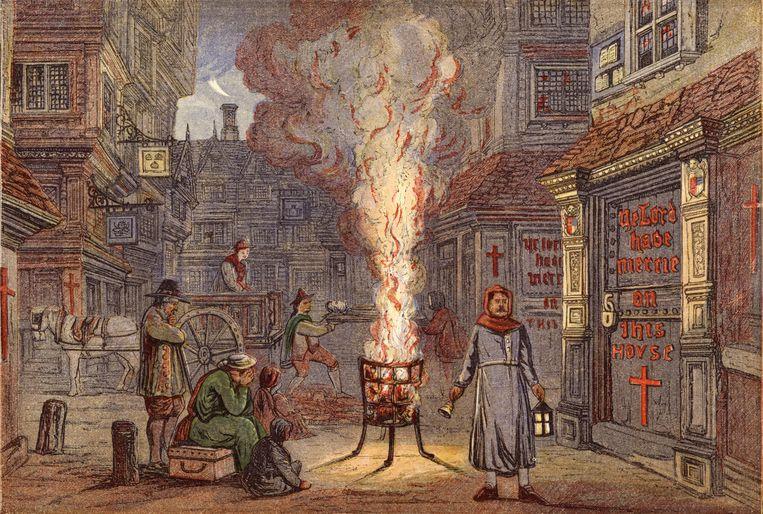 Een belleman gaat door de straten van Londen ten tijde van de grote pestepidemie (1665-1666) en roept 'Bring out your dead'.  Beeld Bridgeman Images