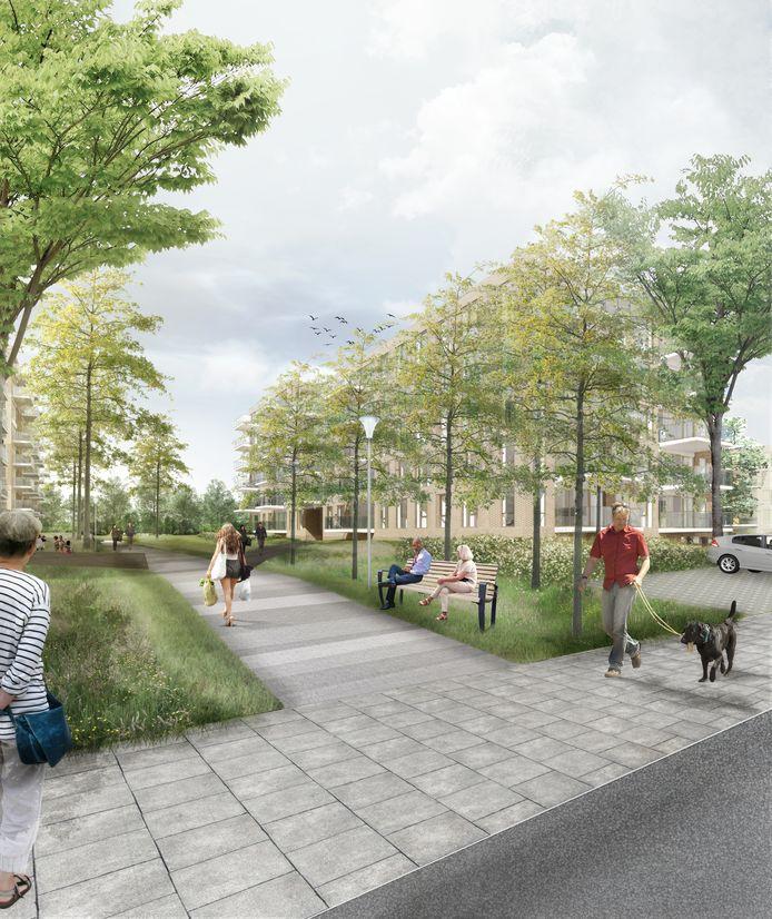 Een impressie van de nieuwe wandel- en ontmoetingsvoorzieningen bij de nog te bouwen appartementencomplexen in Tuindorp-Oost