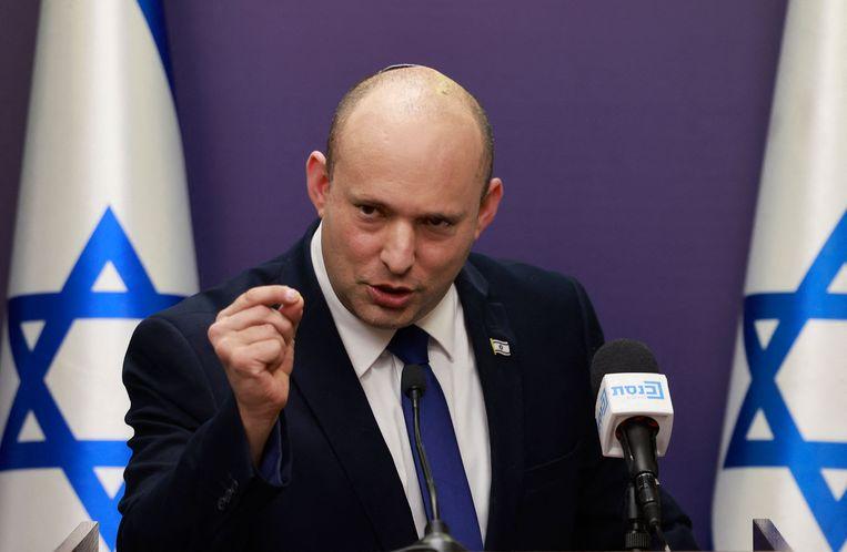 De Israëlische premier Naftali Bennett in de Knesset, het Israëlische parlement. Beeld AFP
