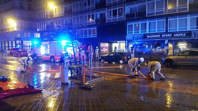 De brandweer bij het Europacentrum in Oostende.