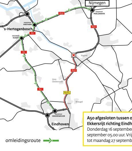 A50 twee weekenden op rij dicht: oprit Veghel tot Ekkersrijt afgesloten voor onderhoud