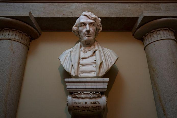 De omstreden buste van rechter Roger Taney, die in 1857 slaven ontzegde staatsburger te zijn.