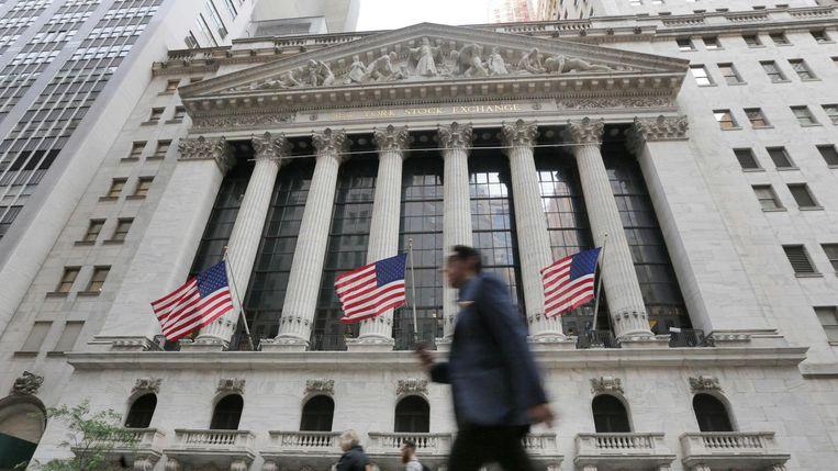 Het beursgebouw in Wall Street. Beeld AP