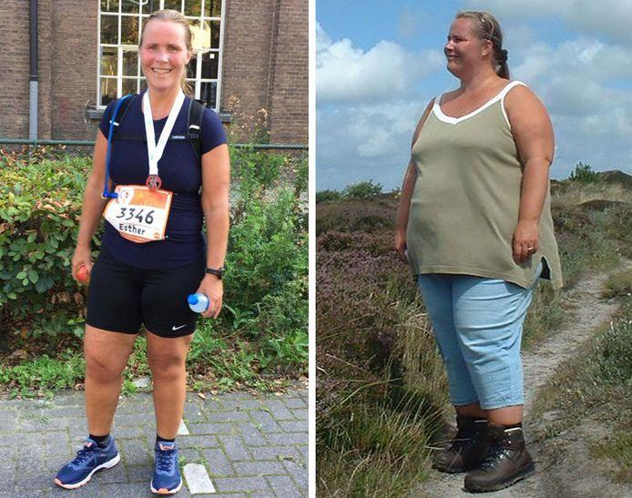 Esther van der Heijden voor en na haar maagverkleining.