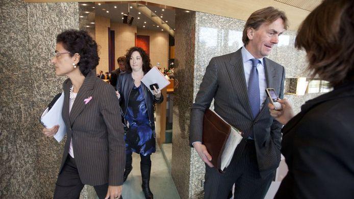 CDA-Kamerleden Ad Koppejan en Kathleen Ferrier na afloop van de stemmingen.