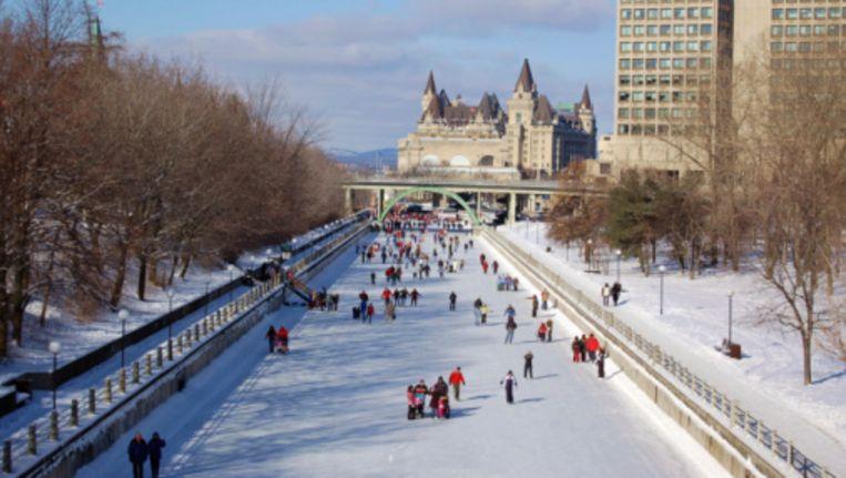 Het idyllische Rideau Canal in Ottawa Beeld UNKNOWN