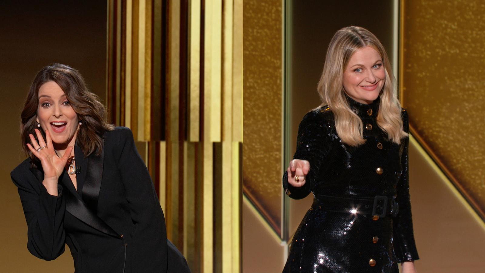 Les hôtes des Golden Globes Tina Fey à gauche depuis New York et Amy Poehler depuis Beverly Hills.