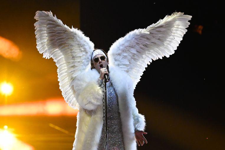 De Noorse zanger Tix tijdens de tweede repetitie van de eerste halve finale van het Eurovisiesongfestival.  Beeld ANP