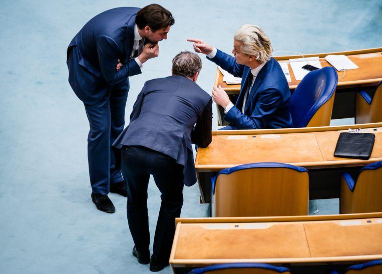 Thierry Baudet, Wybren van Haga en Geert Wilders kunnen hun verschillen van inzicht niet opzijzetten om een plek in de formatie op te eisen.  Beeld Hollandse Hoogte /  ANP