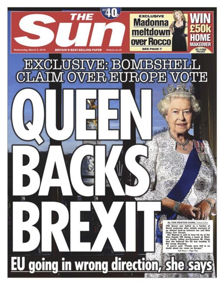 Hoewel The Sun met een spectaculaire voorpagina beweerde dat de monarch pro Brexit zou zijn, werd deze claim ontkend door het paleis en politici. Beeld The Sun