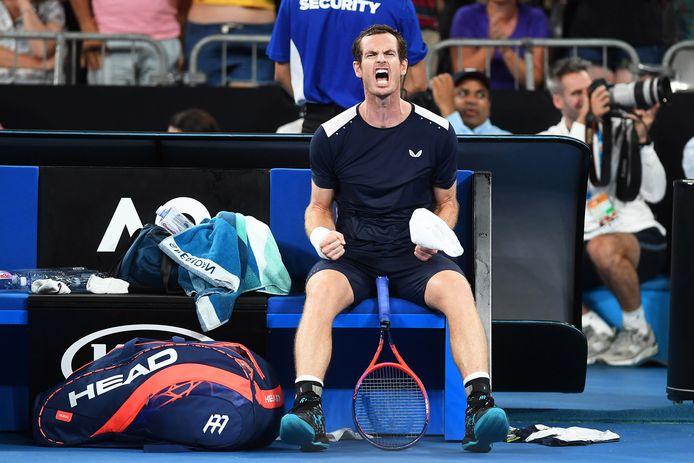 Andy Murray tijdens de Australian Open in januari 2019.