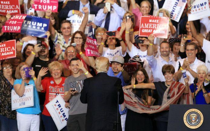 Trump tijdens een verkiezingsbijeenkomst.