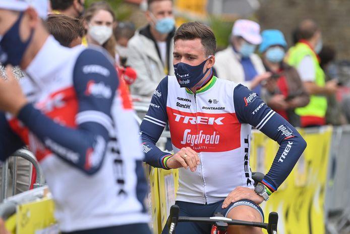 Mads Pedersen prima della partenza.