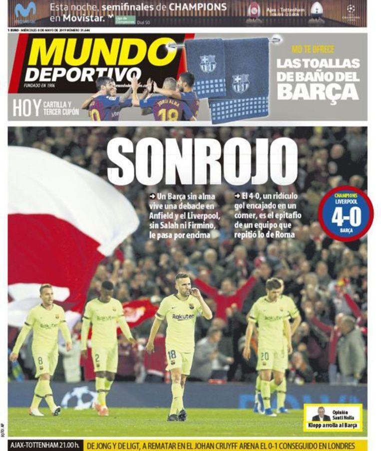De cover van 'El Mundo Deportivo'. Beeld Twitter