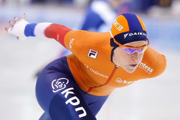 Ireen Wüst tijdens de rit op de 1500 meter op het WK afstanden schaatsen. Beeld ANP
