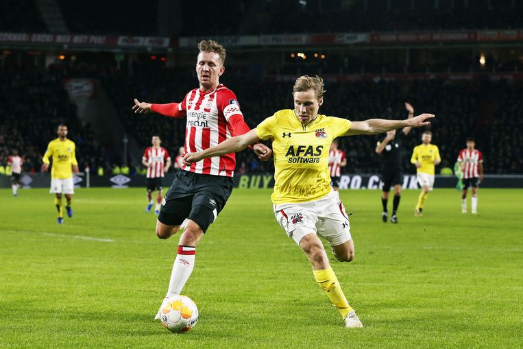 PSV'er Luuk de Jong (l) in actie met AZ-verdediger Jonas Svensson tijdens de wedstrijd in het Philips Stadion in Eindhoven. Beeld ANP
