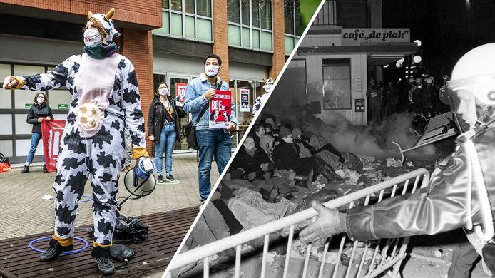 Studentenprotest tegen huisjesmelkers in Den Haag in 2020 (links) en marechaussee die een vreedzame zitdemonstratie voor een barricade met veel geweld uiteen slaat tijdens de Piersonrellen in Nijmegen. Foto ANP/Regionaal Archief Nijmegen