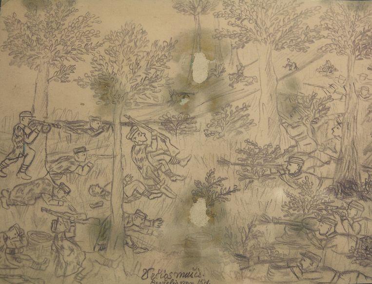 Anonieme tekening, tentoongesteld in het Genocidemuseum in Vilnius, Litouwen. Op de tekening is de strijd verbeeld tussen de Partizanen en de Sovjet-bezettingsmacht, het Rode Leger, in de jaren 40 en 50. Beeld null