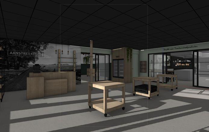 De middelste winkelunit van Het Johannink met een doorkijkje vanuit de winkel Aanstreekelijk van Koen Olde Hanter naar kookstudio 'De Twentse Proefkeuken' van Jan Vos.