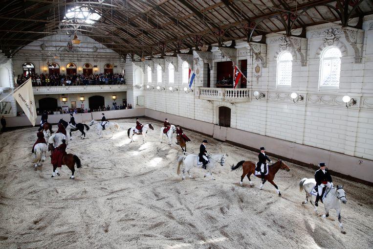 Ruiters tijdens de opening van het Levend Paardenmuseum in de Hollandsche Manege. Beeld ANP