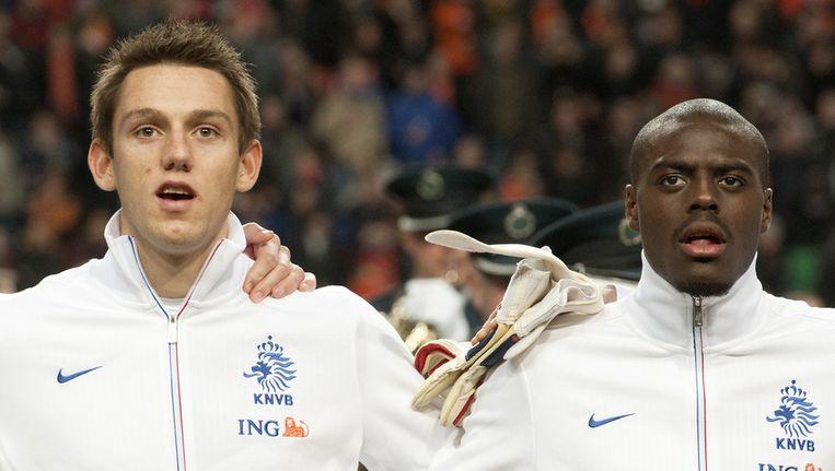 Stefan de Vrij (links) en Bruno Martins Indi voorafgaand aan de oefeninterland tussen Oranje en Italië. Beeld anp