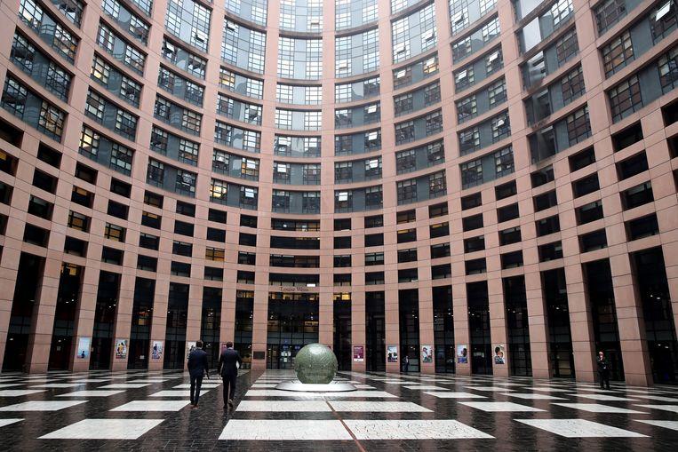De ingang van het Europees Parlement in Straatsburg. Beeld EPA