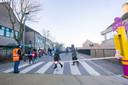 De schoolstraat aan de Vrije Basisschool De Leerheide in Asse-Terheide.