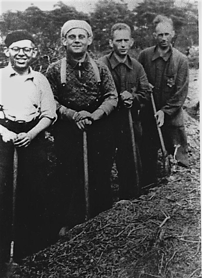 De foto waar het allemaal mee begon. September 1942, het werkkamp in Nunspeet. Vanaf links: Alex en Gerard Polak en Herman en Nico Herschel.