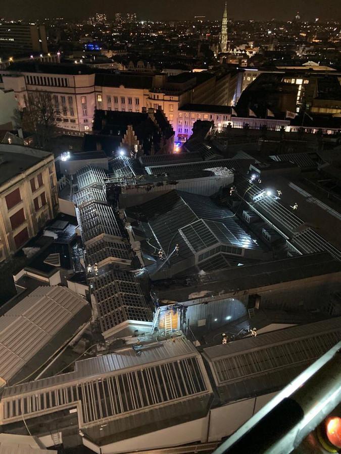 Het dak van Bozar, gefotografeerd vanop een luchtladder.