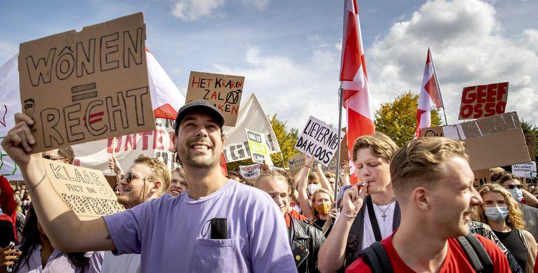 Demonstranten vorige week zondag tijdens het woonprotest.  Beeld ANP