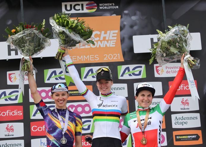 Katarzyna Niewiadoma, Anna Van der Breggen en Elisa Longo Longo Borghini.
