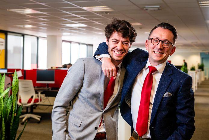 Zoon Pieter-Jan Cracco (links) werd na het overlijden van zijn vader operationeel directeur bij Jobfixers, Lieven Bonamie bleef CEO.