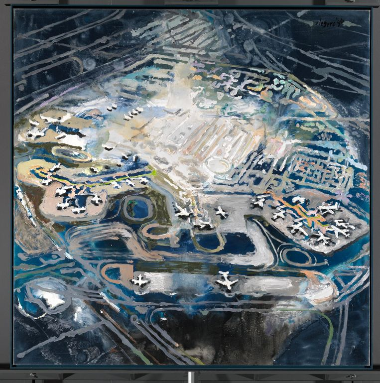 Schiphol, bron van groei, welvaart én overlast. Het schilderij van Janneke Viegers heet Hemelvaart (1996) Beeld .