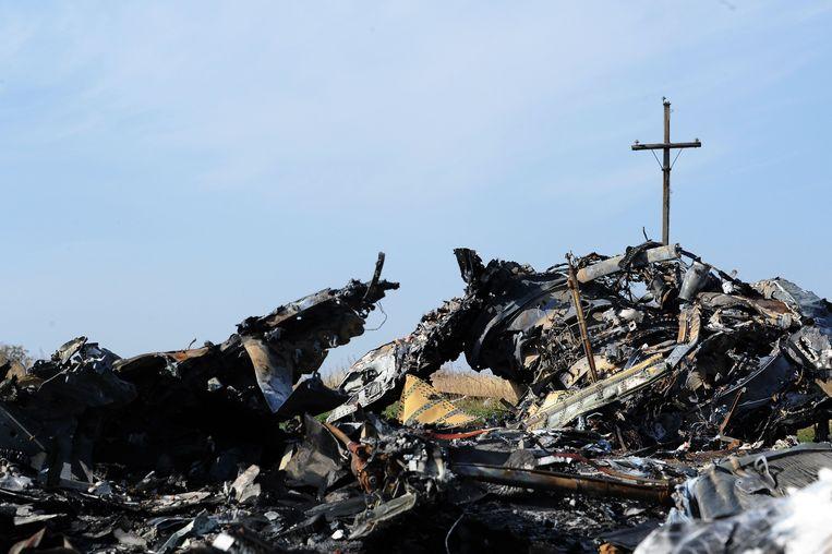 Wrakstukken van vlucht MH17 in 2014 in Oost-Oekraïne. Beeld AFP
