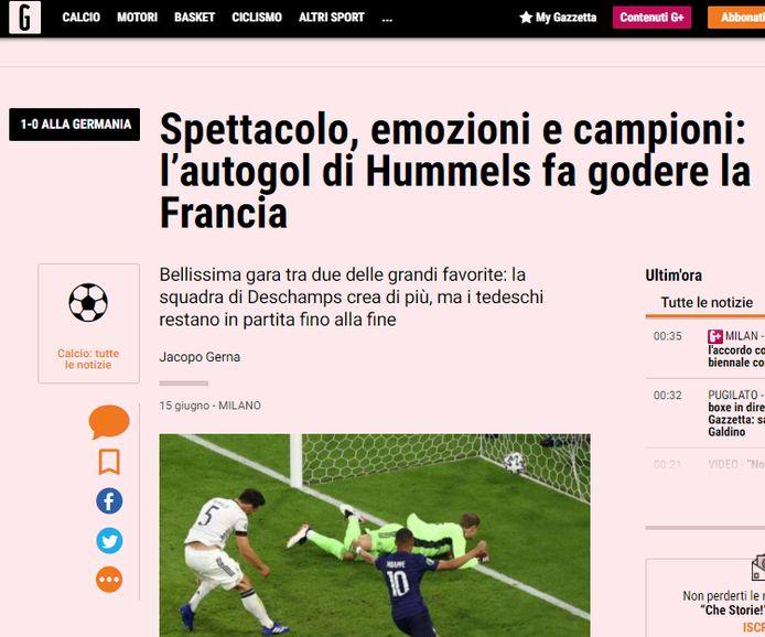 La Gazzetta dello Sport over de topper tussen Frankrijk en Duitsland.