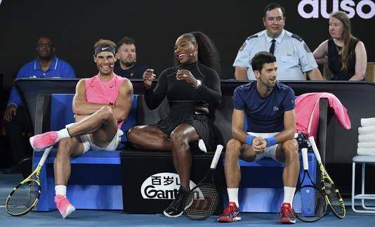 Rafael Nadal, Serena Williams en Novak Djokovic tijdens de Rally of Relief.