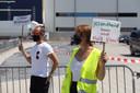 Actievoerders bij protest Vion Boxtel.