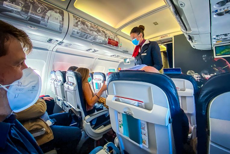 Een vlucht van Brussels Airlines van Brussel naar Rome op 18 juni. Beeld Photo News