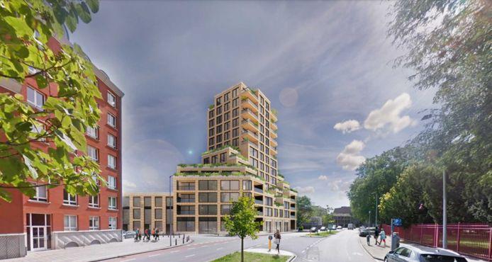Een toekomstbeeld van de nieuwbouw op de hoek van de Valkenstraat en de J.F. Kennedylaan in het centrum van Breda.