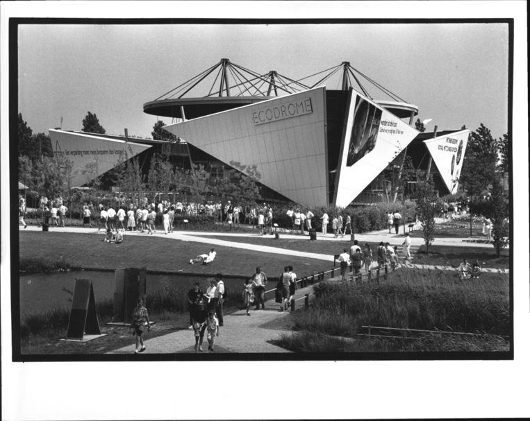 Het paviljoen Ecodrome van het ministerie van VROM op de Floriade 1992 in Zoetermeer. Beeld Wim Ruigrok