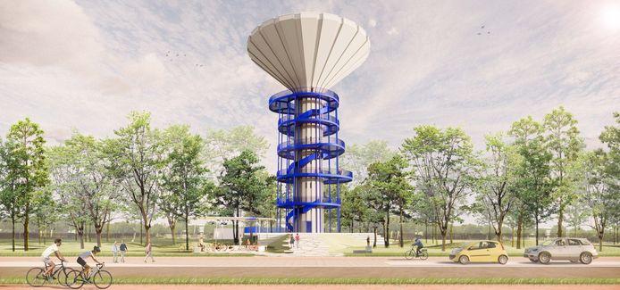 Enkele conceptbeelden van hoe de watertoren er binnen een paar jaar zal uitzien