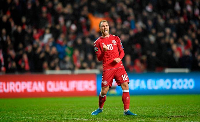 Christian Eriksen in actie voor Denemarken.