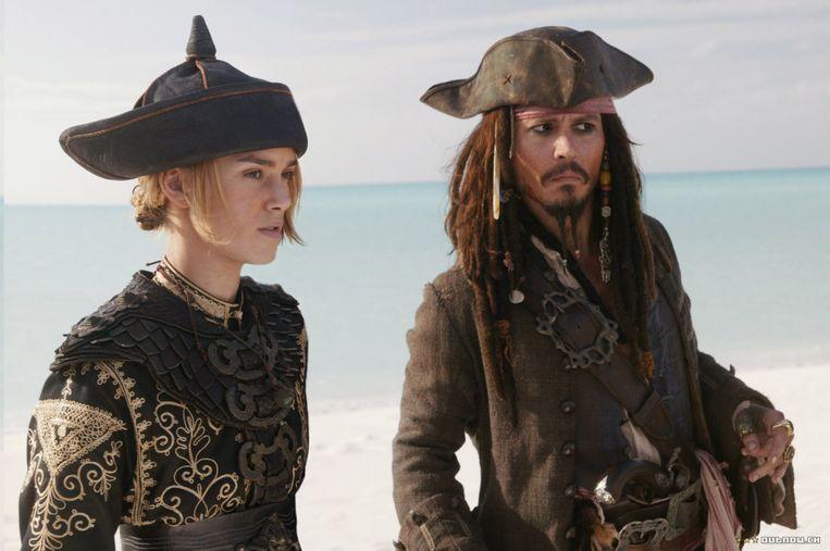 Aan de zijde van Johnny Depp in 'Pirates of the Caribbean'.  Beeld RV