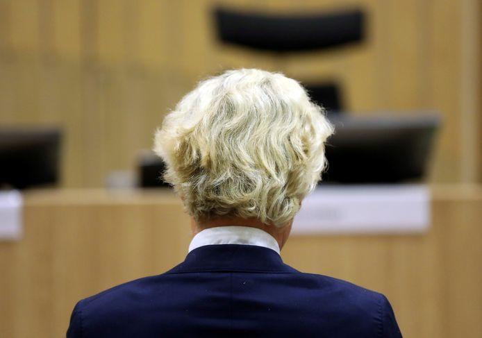 Wilders, eerder deze week in de rechtbank bij Schiphol. Vandaag was de PVV-leider niet aanwezig bij zijn proces.