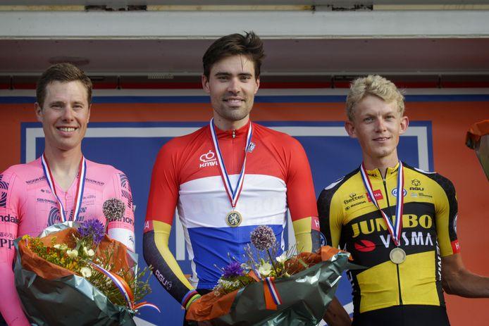 Tom Dumoulin won het afgelopen kampioenschap voor Sebastian Langeveld en Koen Bouwman.