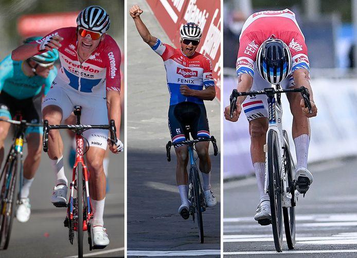 Mathieu van der Poel, vlnr winnend in de Amstel Gold Race (2019), Stade Bianche (gisteren) en de Ronde van Vlaanderen (2020).
